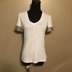Tory Burch White V Neck with Beading and Sequins